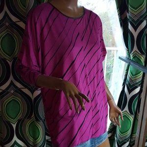 Worthington Tops - NWT long sleeve tunic purple and black sz L